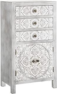 AXIDECOR Estilo Oriental-Cómoda Oriente 3 Cajones 2 Puertas Gris, Madera, 50x30x89 cm