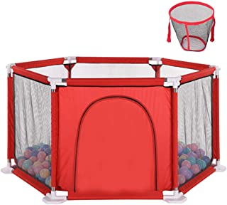 Playpens Baby Fence Toddler Play Yard  Room Divider Child Kids Barrier with Door Ball and Basketball Hoop -Nursery Furniture Playard Indoor Outdoor Parks Great Gifts for Infant