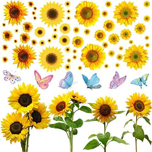 Set di 70 Adesivi Murali Girasole Include 6 Adesivi Farfalla Colorati 64 Adesivo Girasoli Multi-Formato Adesivo Decorativo Impermeabile Rimovibile per Bambino Soggiorno Cucina Casa
