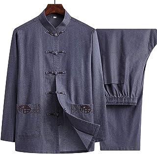 FMOGQ Tang garnitur mężczyźni Hanfu zestawy topy spodnie, mundurek Tai Chi koszula kung fu odzież jednolity kostium walki ...