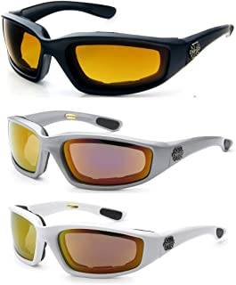 3 Pairs of Choppers Glasses Padded Frame Lense Block 100% UVB for Outdoor Activity Sport (HD -Silver Revo - White Revo)