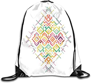 PPOOia Drawstring Backpacks Bags Daypacks,Watercolors Ethnic Tribal Pattern Zigzag Asian Roots International Heritage Motif Image,5 Liter Capacity Adjustable For Sport Gym Traveling