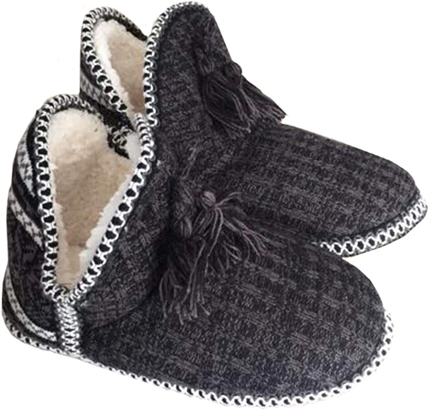 VAQM Winter Slippers for Women Knit House Slippers Booties Non Slip Indoor shoes Warm Bedroom Slippers Cashmere Indoor Ankle Boots