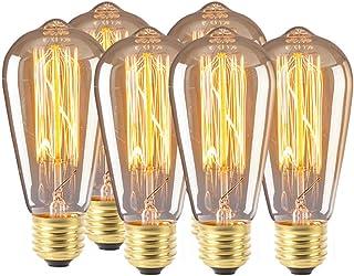 FJ LED Vintage Edison Bulb, Dimmable 60W ST64 Antique LED Bulb Squirrel Cage Filament Lights, Home Decoration, E26 E27 Bas...