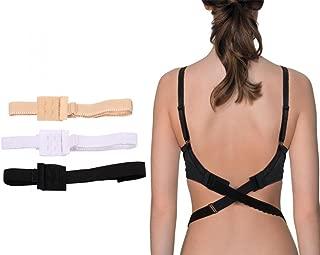 Women's Low Back Bra Converter Adjustable Strap Extender with 2 Hooks