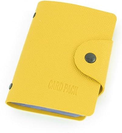 DealMux Dimart Tragbare Lychee Print Yellow Kunstleder Kredit Visitenkarte-Halter