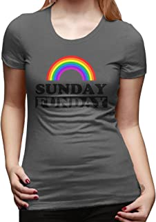 U9 Women's Sunday Funday Rainbow T Shirt DeepHeather