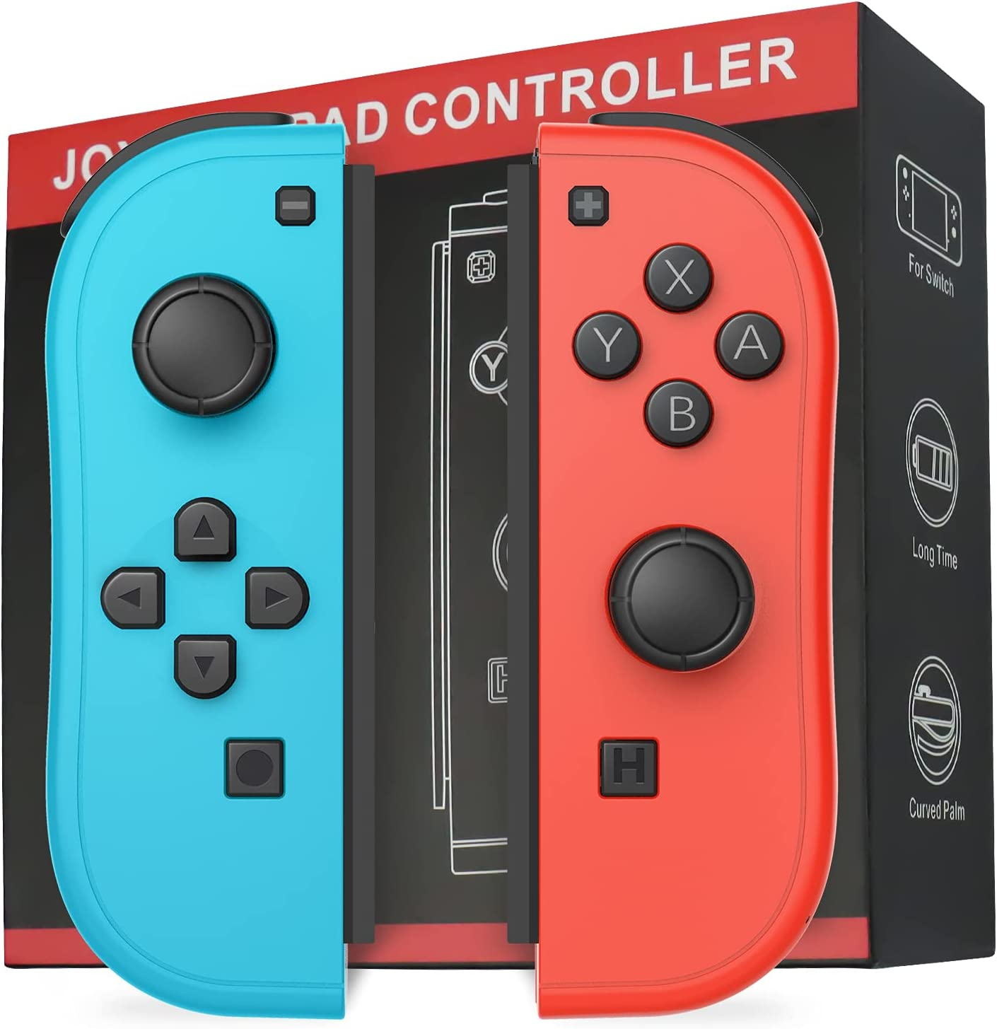 D.Gruoiza Joycon Switch Controllers Have Wake Up Feature, Enhanced Joy-con Remotes Apply to Switch with Grip (Blue and Red)