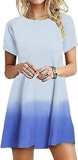 OMZIN - Vestido de mujer de manga corta, informal, de corte redondo, en tallas grandes, de 2XS a 5XL Azul cielo Jb. XL