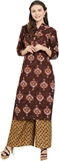 New Multi Designer Women Straight Multi Design Printed Kurti with Plazzo for Women Tunic Top 3/4 Sleeve Dress Plzzo