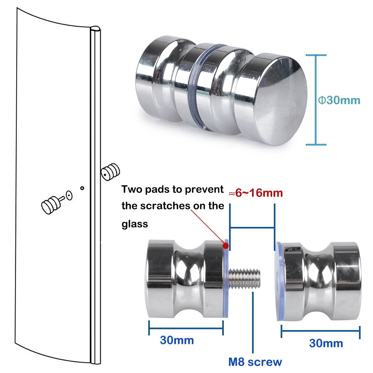 SHiZAK 2 poignées de porte de douche en acier inoxydable, rondes, poignée de porte de rechange chromée: Amazon.es: Bricolaje y herramientas