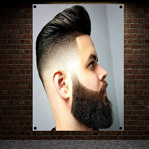 Classic Pompadour Men's Beard Hairstyle Barber Shop Decor Wall Chart Flag Canvas Painting 96x144 cm (38X57 inches)