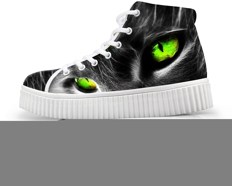 HUGS IDEA 3D Animals Face Print Platform Sneakers Laceup Ankle Boots Grey Cat US8