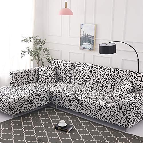 Elastisch Sofa Überwürfe Sofabezug, Morbuy Ecksofa L Form Stretch Antirutsch Armlehnen Sofahusse Sofa Abdeckung Hussen für Sofa Couchbezug Sesselbezug (2 Sitzer,Schwarz weiß)