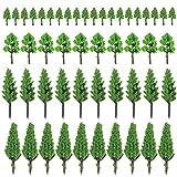 Boerni 50 STÜCKE gemischte Modellbäume, Miniaturbäume, maßstabsgetreue Modellbäume, DIY-Zugbäume für Sandtafelmodelle, Szenendekoration -