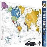 Mapamundi Rascar Para Viajeros Y Familias - Scratch Off World Map Poster, Más Grande Y Con Más Destinos - Incluye Antifaz Para Dormir