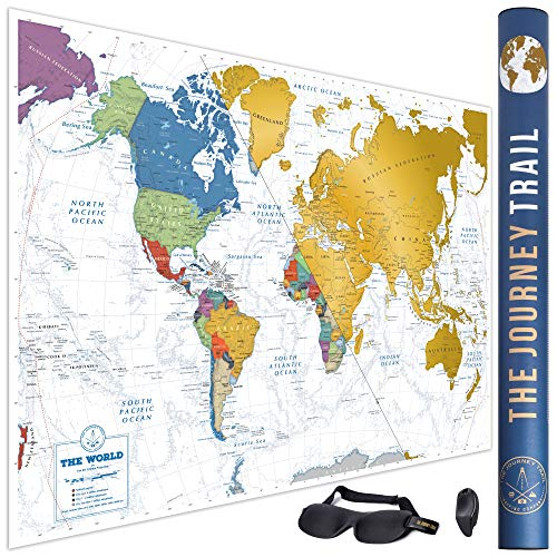 Cartina del mondo da grattare per viaggiatori e famiglie - Poster laminato, più spesso, grande 84x57cm e con più destinazioni -Inclusa la mascherina per dormire leggera che favorisce un sonno profondo