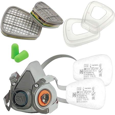 3M Juego de media Máscara serie 6000 tamaño M 6200 con filtro de gas 6059 ABEK1 con filtro de partículas 5935 P3 R y tapa de filtro 501 con tapones para los oídos SmartProduct