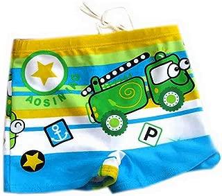 PANDA SUPERSTORE Green Boy Leg Swim Shorts for Kids Cartoon Car Swim Trunk(3-5 Years Old)