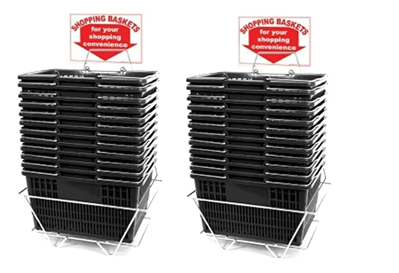 Black Shopping Baskets (Set of 24 with 2 Stands and Sign) Durable BlackPlastic with Metal Handles