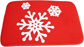 HS Red Snowflakes Cartoon Doormat Christmas Mats Entrance Mat Floor Mats Rug for Indoor Outdoorr Bathroom40 x 60cm