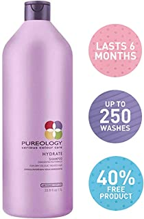 Pureology Hydrate Moisturizing Shampoo   For Medium to Thick Dry, Color Treated Hair  Sulfate-Free   Vegan   33.8 oz.
