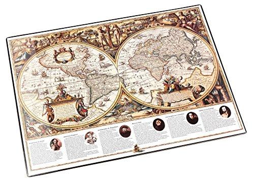 Läufer 45349 Landkarten-Schreibtischunterlage Welt antik, rutschfeste Schreibunterlage, 40x53 cm,...