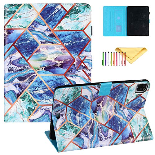 Uliking Case for iPad Air 4th Generation/iPad 10.9' 2020 case with Pencil Holder, iPad Pro 11 2018/2019 Cover, PU Leather Folio Flip Stand Smart Cover Multi Angle Viewing Stand, Blue Green Marble