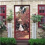 Etiqueta de la puerta 3D Etiqueta de la puerta Planta creativa Flor Pared Pegatinas de pared Papel pintado Sala de estar Mural Decoración del hogar Calcomanías para el hogar 2 Unids/set