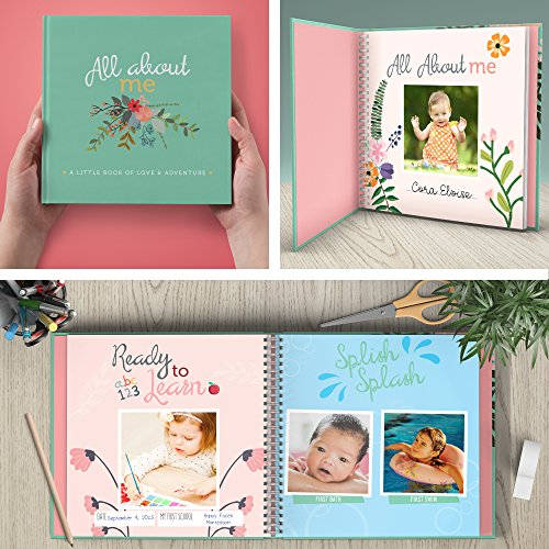 Image of RubyRoo Baby First Year Baby Memory Book & Baby Journal. Baby Shower Gift & Keepsake for New Parents to Record Photos & Milestones. Five Year Scrapbook & Picture Album for Boy & Girl Babies. (Floral)
