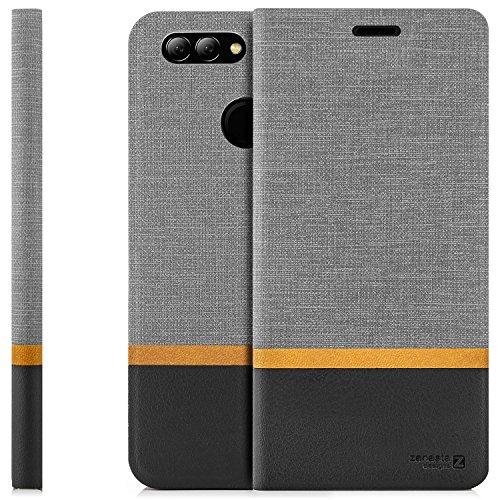 zanasta Tasche kompatibel mit Huawei Nova 2 Plus Hülle Flip Hülle Schutzhülle Handytasche mit Kartenfach Grau