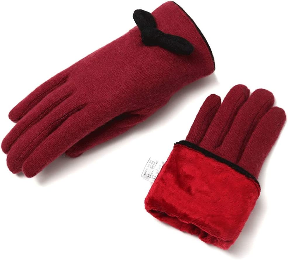 Zcx Ladies Autumn and Winter Thick Warm Outdoor Travel Touch Screen Sweet Cute Bow Five-Finger Gloves (Color : Red, Size : One Size)