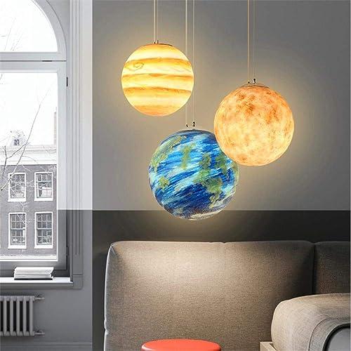 Nordic Couleur Résine Planet LED pendentif Lumières éclairage Chambre Salon Restaurant LED Suspension Suspension Appareils De Cuisine Luminaire, C, 20CM