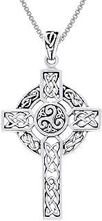 "Jewelry Trends Celtic Trinity Triskele Cross Sterling Silver Pendant Necklace 18"""