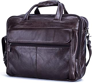 JJJJD Leather Laptop Bag,Large Business Office Shoulder Bag 15 Inch Portable Computer Satchel Briefcase