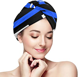 Thin Blue Line UK Flag Microfiber Hair Towel Wrap With Button Quick Dry Hair Turban For Women Girls