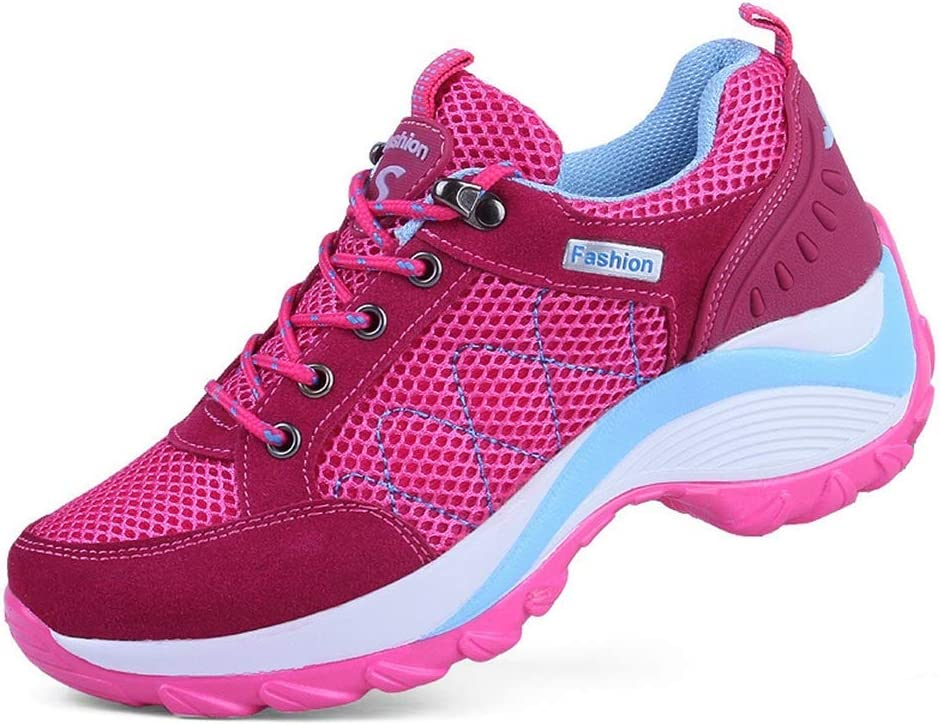 BFBMY Lace Up Women Hiking Shoes Breathable Low Top Outdoor Athletic Sneakers for Walking Trekking Booties (Color : Rose, Size : 4.5)
