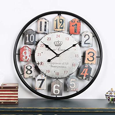 WEIWEI Vintage Wrought Iron Wall Clock, Living Room Metal Hollow Clock-B