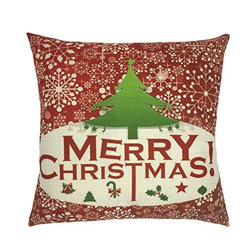 Biodawn Cotone in Lino Babbo Natale Albero di Natale Divano Federa 45cm x 45cm