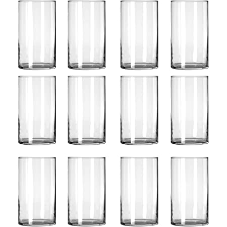 12 Pack Clear Glass Cylinder Vases, Table Flowers Vase,for Wedding Decrations and Formal Dinners (6 Inch)