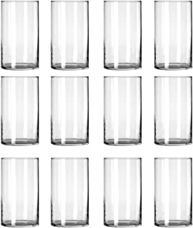 STARSIDE 12 Pack Clear Glass Cylinder Vases, Table Flowers Vase,for Wedding Decrations and Formal Dinners (6 Inch)