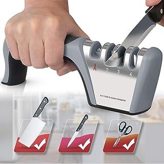 ANYUKE - Afilador manual de cuchillos, 4 niveles, acero de tungsteno para afilar gruesos y tijeras, diamante para afilar de forma intermedia, piedra de cerámica para afilar de precisión