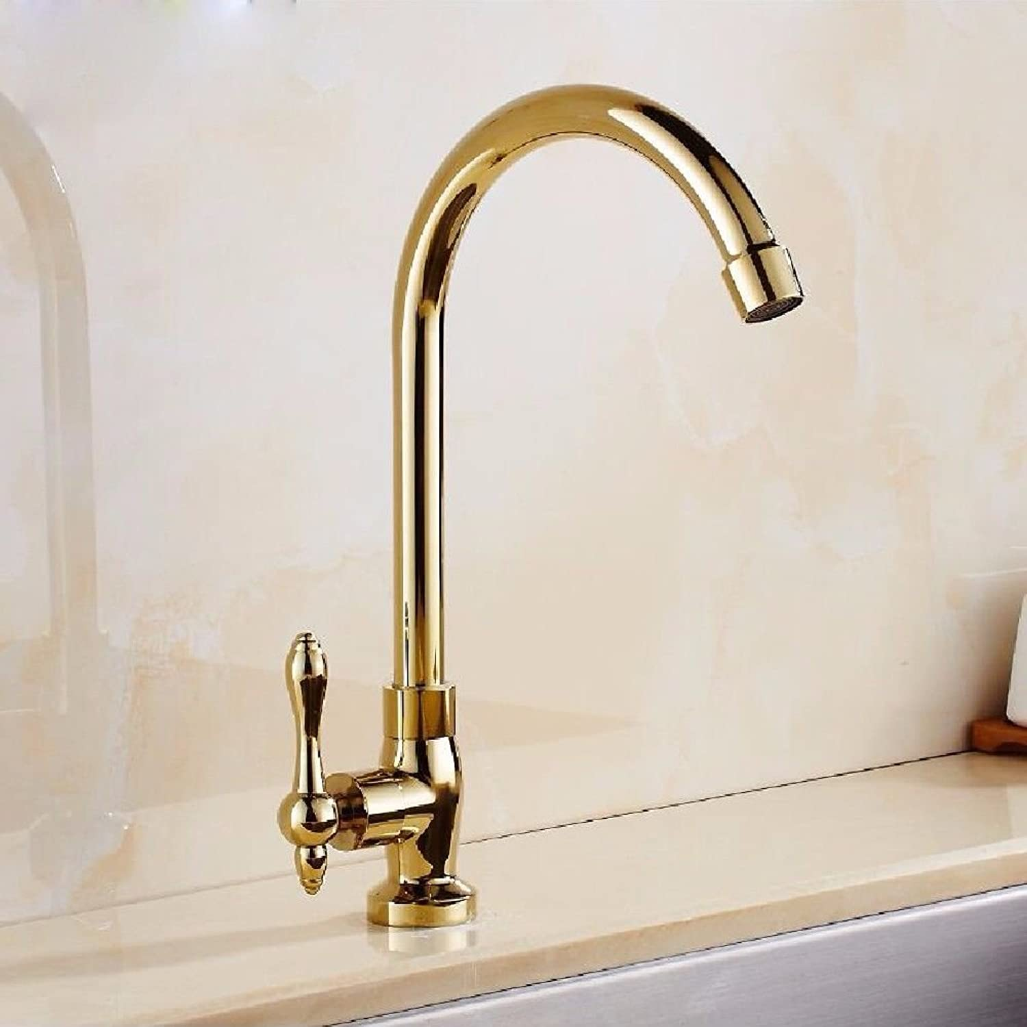 Lalaky Taps Faucet Kitchen Mixer Sink Waterfall Bathroom Mixer Basin Mixer Tap for Kitchen Bathroom and Washroom Copper Single Cold redation