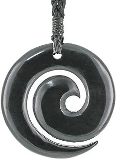 New Zealand Maori Hand Carved Black Horn Open Koru Pendant Necklace
