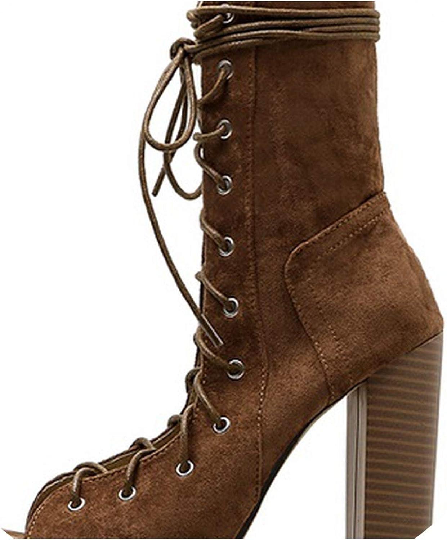 RAINIE002 2019 Ankle Boots Forwomen Peep Toe Lace-Up Cross-Tied Heel Pumpsromanwomen Sandals Brown Black