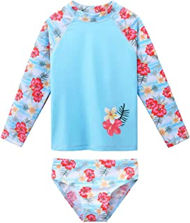 BAOHULU Toddler Girls Two Piece Long Sleeve UPF50+ Rash Guard Bikini Swimsuits Flower Bathing Suit