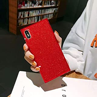 Square Case for iPhone XR,Tzomsze XR Glitter Cases for Girls Reinforced Corners TPU Cushion,Crystal Clear Slim Cover Shock Absorption TPU Silicone Shell-Red