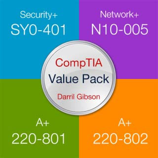Darryl Gibson's CompTIA Exam Prep Value Pack (Security+ SY0-401, Network+ N10-005, A+ 220-801, A+ 220-802) - Practice Questions, Flashcards and Tests.