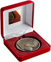 Lapal Dimension Rood Fluwelen Doos En 60mm Medal Hockey Trofee - Antiek Zilver - 10,2 cm