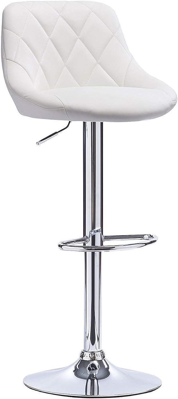 High Stool-Bar Chair Lifting Swivel Chair Back Stool Bar Modern Minimalist JINRONG (color   White)